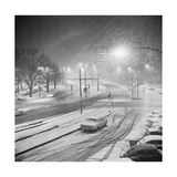 Automobiles Stuck in Snowstorm Giclee Print