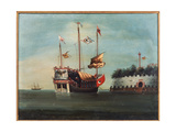 War Junks Off Folly Forts in the South China Sea Giclee Print