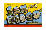 Greetings from San Diego, California Giclee Print