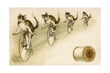 J&P Coats Trade Card with Cats Bicycling Giclee Print