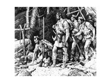 Illustration of the Rogers' Expedition Party Discovering the Deserted Rescue Party Camp Wydruk giclee