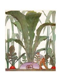 Farmer Cultivating a Giant Turnip and Radishes Giclee Print