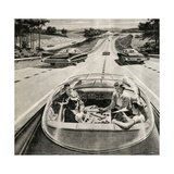 Family Playing Game While Futuristic Car Drives Itself Giclee Print