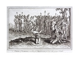 Early 19th Century Engraving of the King of Florida Consulting His Magician Giclee Print