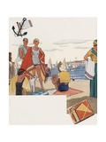 Fashionably Dressed People on Beach Giclee Print