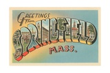 Greetings from Springfield, Massachusetts Giclee Print