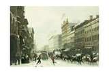 New York Winter Scene in Broadway Giclee Print