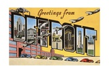 Greetings from Detroit, Michigan Giclee Print
