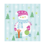 Snowman and Gift with Blue Background Giclee Print