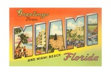 Greetings from Miami and Miami Beach, Florida Giclee Print