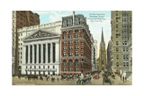 The New York Stock Exchange, Trinity Church and Wall Street, New York City Postcard Giclee Print