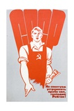 Soviet Worker Clutching a Copy of Pravda and Wearing Hammer and Sickle Dungarees Giclee Print