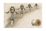 J and P Coats Trade Card of Frog Cyclists Giclée-trykk