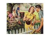 Neighbors Having a Backyard Barbeque Giclee Print
