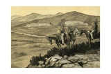 Indians Watch the First Railroads Reach the Prairies of the West Giclee Print