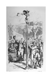 Political Cartoon Depicting Benjamin Disraeli Reaching the Top of the Political Pole Giclee Print