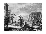 Engraving of Peter the Great Supervising the Building of St. Petersburg Giclee Print