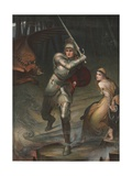 Knight Rescuing Princess from Dragon Giclee Print