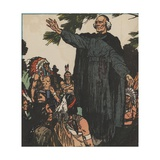 Jacques Marquette with Native Americans Giclee Print