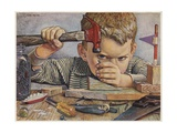 Determined Looking Boy Hammering Nail Giclee Print