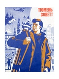 Soviet Portrait of a Surveyor in the Oil Exploration Industry Giclee Print