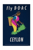 Fly Boac Ceylon Travel Poster Giclée-tryk
