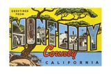 Greetings from Monterey County, California Giclee Print