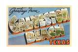 Greetings from Galveston Beach, Texas Giclee Print