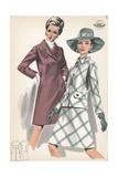 Two Women Modeling Outerwear Giclee Print