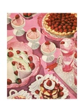 Variety of Strawberry Desserts Giclee Print