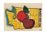 Washington State Travel Decal with Apples Lámina giclée