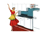 Happy Housewife Dancing in the Kitchen of a 1940s Home Giclee Print
