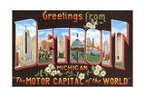 Greetings from Detroit, Michigan, the Motor Capital of the World Giclee Print