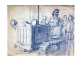 Drawing of a Soviet Woman on a Tracked Tractor Giclee Print