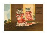 Deland's Baking Powder Trade Card of a Cat in a Red Dress Giclee Print