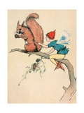 Elf and Squirrel Sitting on Tree Branch Giclee Print
