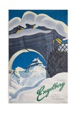 Engelberg Switzerland Travel Poster Giclée-tryk