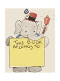 Elephant Ringing Bell and Holding Sign Giclee Print