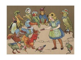 Little Girl with Group of Animals Wearing Clothing Giclee Print
