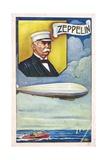 Ferdinand Von Zeppelin with Airship Giclee Print
