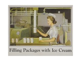 Filling Packages with Ice Cream Poster Giclee Print