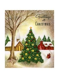 Vintage Illustration of Christmas Tree in a Town Square Stampa giclée