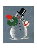 Vintage Illustration of Christmas Snowman Impression giclée