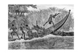 Illustration of Engraged Hippopotamus Upsetting a Boat Giclee Print