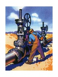 Oil Series: Oil Workers at an Oil Pipeline Giclee Print