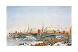 Postcard of a May-Day Parade on the Banks of the Moskva River in Moscow, USSR Giclee Print