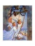 Vintage Illustration of Christmas Angels Ringing Bells Giclee Print