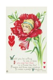 Would You Be Willing to See a Miss If You Saw Her Face in a Flower Like This Postcard Giclee Print