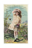 Hoyt's German Cologne Trade Card with a Girl and Butterflies Giclee Print