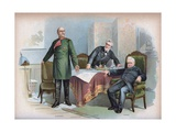 Otto Von Bismarck Dictating Peace Terms to End the Franco-Prussian War Giclee Print